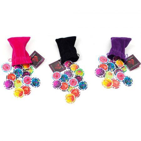Love Zseton (Pink, fekete, lila ) tasakban