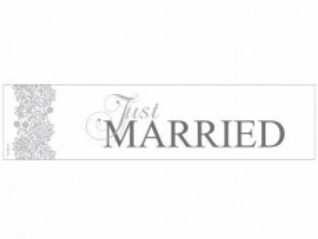 Ezüst-fehér Just married rendszámtábla
