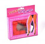 Furry Leg Cuffs Lábbilincs hosszú lánccal (piros, fekete)