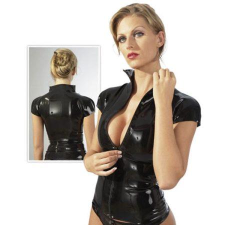 Latex Zip Shirt fekete