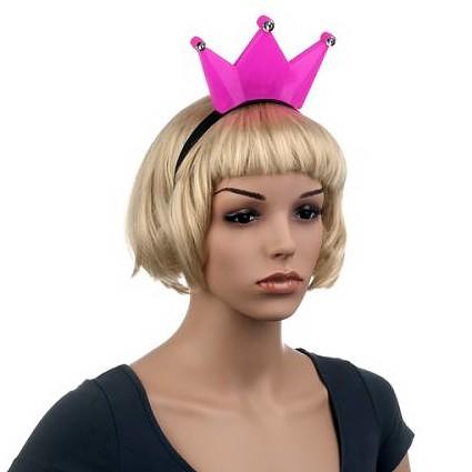 Világító pink korona hajpánt