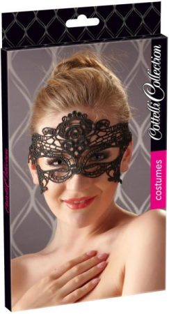Cottelli Collection Hímzett, csipke hatású szemmaszk (fekete)